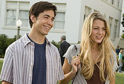 Justin Long and Blake Lively star in the new comedy, Accepted.