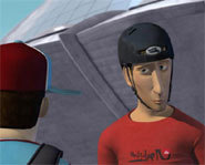 Picture from the animated movie, Boom Boom Sabotage featuring Tony Hawk.