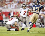 Photo of NFL kicker attempting a field goal.