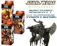 We review the horde of scum and villainy in the Star Wars Miniatures: Bounty Hunters expansion set.
