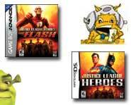 We have a video of the new Shrek the Third video game for Xbox 360 plus preview info on the Justice League Heroes game!
