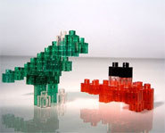 The Pixel Blocks building system can be used to 2-D and 3-D models.