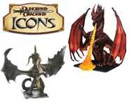We review the massive red and black Icons dragons for the D&D Miniatures game of fantasy battles!