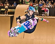 Photo of skateboarder, Lyn-Z Adams Hawkins at the X Games.