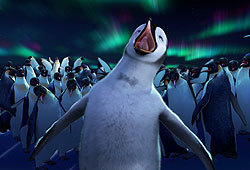Robin Williams, Elijah Wood and Britney Murphy lend their voices to the movie Happy Feet.
