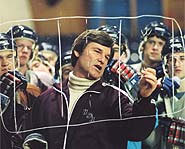 Photo of Kurt Russel as coach, Herb Brooks, in the movie Miracle.