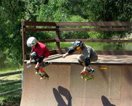 Photo of skateboarding twins, Nick and Tristan Puehse.