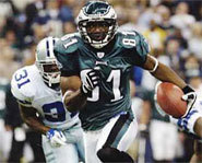 Photo of Dallas Cowboys' wide receiver, Terrell Owens, seen here in his old Philadelphia Eagles uniform.