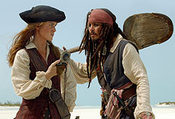 Johnny Depp and Kierra Knightly star in Pirates of the Caribbean: Dead Man's Chest.