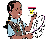 Girl Scouts do lots of fun outdoor activities, like hiking and camping.