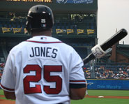 Andruw Jones of the Atlanta Braves is one of the best outfielders in history.