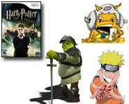 Get preview pics and inf on two new Naruto games, Shrek on PSP and the stars of the new Harry Potter video game!