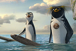 Shia LaBeouf and Jon Heder lend their voices to the penguin flick Surf's Up!