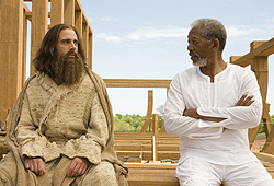 Steve Carell and Morgan Freeman star in Evan Almighty.