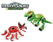Held together by powerful magnets, the roaring light-up Magna-Saurs toys are ready to rule your house! Or are they?
