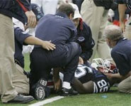 Kevin Everett of the Buffalo Bills severly injured his neck in a game against the Broncos on September 9, 2007.