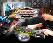 Jump into online battle racing with blasting weapons and cards you can swipe to upgrade your car!