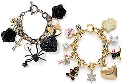 Check out these cool charm bracelets by Betsey Johnson and Juicy Couture!