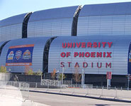 University of Phoenix Stadium is home of the Arizona Cardinals and will host the 2008 Super Bowl.