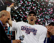 Eli Manning and the New York Giants defeated the New England Patriots 17-14 in Super Bowl XLII.