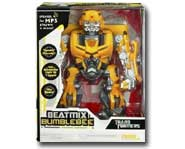 Plug this Transformer into your mp3 player and Bumblebee's speakers will play your tunes as he dances along with the music!