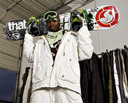 Stevie bell is an African American snowboarder.