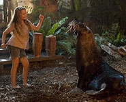 Abigail Breslin dances with Selkie the sea lion in Nim's Island.