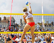 Playing volleyball allows you to stay fit while enjoying the sun!