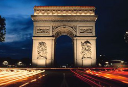 The Arc de Triomph is a monument in Paris, France.