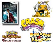 We have videos for Harry Potter and the Half-Blood Prince, Crash Bandicoot and Skate 2, plus Pokemon DS case and Dokapon Kingdom info!