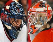 Roberto Luongo and Martin Biron