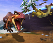 Ice Age 3: Dawn of the Dinosaurs Screen of Sid running from T-Rex