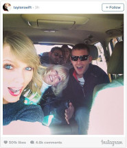 Taylor in the car with her family for the holidays!