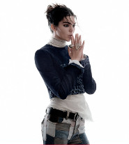 Kendall sports a snakeskin jacket for the shoot