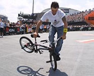 Picture of rider competing in flatland BMX at the X Games.