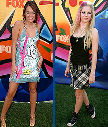Kidzworld's picks for worst dressed are Miley Cyrus and Avril Lavigne.