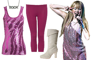 Hannah Montana's style is flashy!
